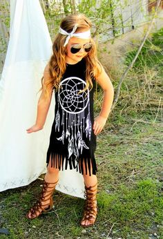 Black/White Dream Catcher Fringe Dress