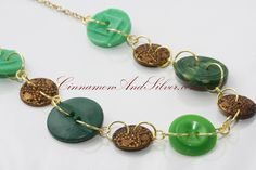 Green and Antique Gold Lucky Charms Button Necklace, Unique Green Button Necklace, Upcycled Green and Gold Button Necklace…