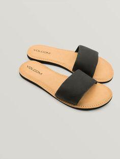 3a05410a945b Details about Mad Love Tea Black Slide Sandals Sz 7 Faux Leather ...
