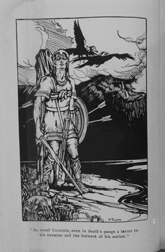 3. 'Cuculain... in death's pangs' by Patrick Tuohy (1919). It shows the hero strapped to a standing stone close to a lake-edge. An otter emerges from rushes close to his feet while two ravens take flight above his head. The depiction is based on the later version of the death-tale of Cúchulainn in which the hero kills an otter (dobharchú) for drinking his blood. First published in The Triumph and Passing of Cuculain by Standish O'Grady (1919).