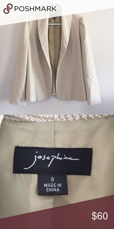 Josephine Tan and Cream Open Blazer This absolutely beautiful tan and cream jacket by Josephine features gold flecks that gives this open blazer a both classy and trendy look. This blazer has a stylized upturn in the shoulders and is in great condition! It is a size 8. Make an offer! Josephine Jackets & Coats Blazers