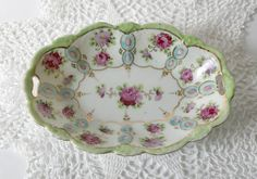 Antique Vintage Nut or Candy Dish  pink