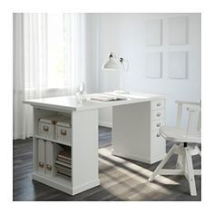 IKEA - KLIMPEN, Table, white, , Can be placed anywhere in the room because the back is finished.Slot for a label on each drawer so you can easily keep things organized and find what you are looking for.Drawer stops prevent the drawers from being pulled out too far.You can customize your storage with the adjustable shelf.