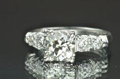 1.76 Carat Vintage Diamond Engagement Ring / 1.34 Center