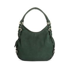 Women's Solid Hobo Handbag with Buckle Detail Forest ($35) ❤ liked on Polyvore featuring bags, handbags, shoulder bags, green, genuine leather shoulder bag, green leather shoulder bag, leather purse, hobo handbags and leather shoulder bag