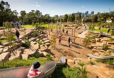Royal Park Nature Play playground by the internal City of Melbourne landscape design team Park Landscape, Urban Landscape, Landscape Design, Landscape Architecture Model, Evergreen Bush, Outdoor Play Spaces, Royal Park, Natural Playground, Playground Design