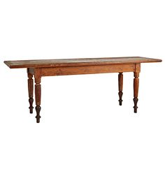 Enormous Turned-Leg Mercantile Table w/ Crazed Finish Circa Wall Paint Colors, Interior Paint Colors, Interior Design, Painted Brick Exteriors, Antique Dining Tables, Deer Decor, Dining Room Chairs, Dining Rooms, Visual Comfort