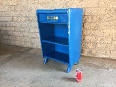 Blue Retro Mid-Century Nightstand By Ronney and Sons