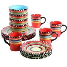 Gibson Home Pueblo Springs Handpainted 16-Piece Dinnerware Set Multi-Color  sc 1 st  Pinterest & The soft colors and lightly antiqued ruffle details make everyday ...