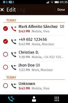 Registro de llamadas, edición