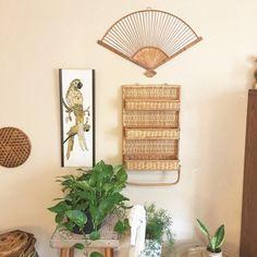 Vintage Rattan Wall Shelf / Folding Bamboo by VintageGirlHome