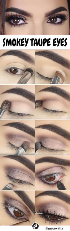 Smokey Taupe Eyes tutorial. Try a smokey eye look if you are searching for something classic that suits all women and never goes out of fashion. Base Makeup, Taupe Eye Makeup, Eye Makeup Diy, Makeup At Home, Night Makeup, Eye Makeup Steps, Pink Makeup, Simple Makeup, Bronzer Makeup