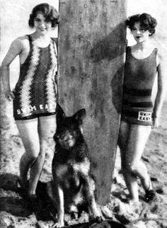 Kittyinva: 1927 Leila Hyams, Rin Tin Tin and Myrna Loy at the beach.