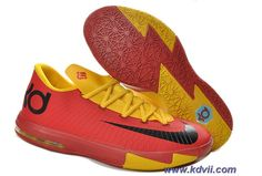 New Kevin Durant Shoes 599424-112 Nike Zoom KD 6 Low Red Yellow