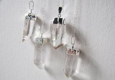 Crystal+Necklace++Raw+Quartz+Silber+getaucht++von+FawningInLove,+$24.00