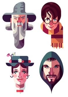 Character vectors. These are colored with flat colors, and are shaded with…