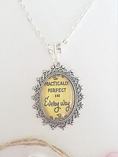 Glass Quote Pendant Necklace  Practically Perfect  by EmmaFleet