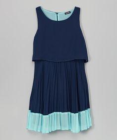 Look at this #zulilyfind! Turquoise & Navy Layered Dress - Girls #zulilyfinds