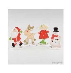 Regalos para navidad, detalles navideños. Portafoto en madera, surtido Ángel, Santa, Reno y Muñeco de nieve. Precio para la unidad. Medida: 13 x 8 cm diámetro
