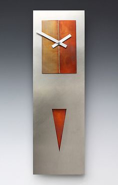 Steel Spike Pendulum Clock by Leonie Lacouette: Metal Clock available at www.artfulhome.com