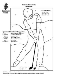 Free Stained Glass Pattern 2204-Golfer Panel