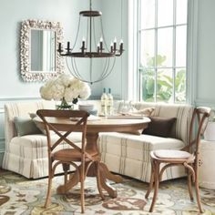 The dining room is where families and friends are brought together and memories are shared. So why not create a dining room full of warmth with Ballard Designs today. Dining Nook, Dining Room Table, Banquette Dining, Dining Room Furniture, Home Furniture, Funky Furniture, Beautiful Dining Rooms, House Beautiful, Kitchen Decor
