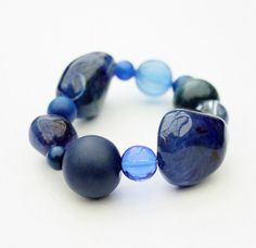 Chunky bracelet, sodalite blue, royal blue, beaded bracelet, dark blue, statement, pantone fashion colours, random stone age glamour. on Etsy