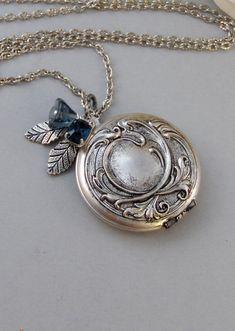 Sapphire Maiden,Locket,Silver Locket,Flower,Blue,Sapphire,Antique Locket,Floral,Jewelry. Handmade jewelry by valleygirldesigns.