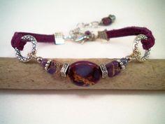 Semi Precious Stone Leather Bracelet by Stylized Designs, $22.00