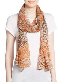 VERSACE Leopard-Print Silk Scarf. #versace #scarf