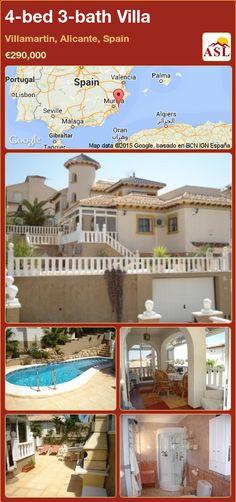 Villa for Sale in Villamartin, Alicante, Spain with 4 bedrooms, 3 bathrooms - A Spanish Life Valencia, Portugal, Alicante Spain, Spanish, Villa, Bath, Mansions, Bedroom, House Styles
