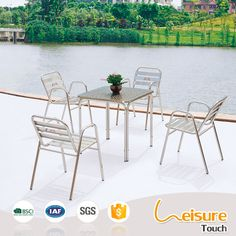 Cheap restaurant bar furniture outdoor stainless steel dining table and chair sets
