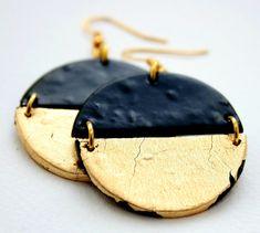 Geometric earrings, black and gold earrings, polymer clay earrings