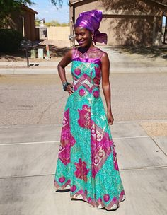 Kuwaha African Print Gown Dress Green Purple Gold on Etsy | African Evening Gown, African Dress, Zambian Style