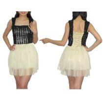 Womens Thai Exotic Sexy Sleeveless Clubwear / Night-Wear Mini Party Dress - Black & Beige