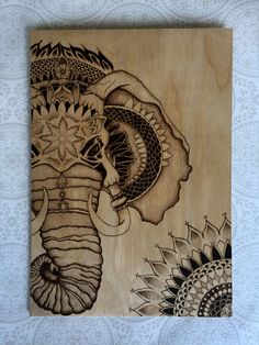Pyrography Elephant  stippled design with door TimberleePyrography