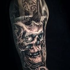 Video of this Norse skull thanks Mikael! 🗡Video of this Norse skull🗡 thanks Mikael! 🗡Video of this Norse skull🗡 thanks Mikael! Arm Tattoo, Inka Tattoo, Viking Tattoo Sleeve, Norse Tattoo, Viking Tattoos, Pirate Skull Tattoos, Skull Sleeve Tattoos, Best Sleeve Tattoos, Body Art Tattoos