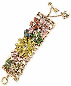 Betsey Johnson Pave Flower Wide Toggle Bracelet