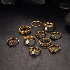 Gold Color Flower Midi Ring Sets for Women