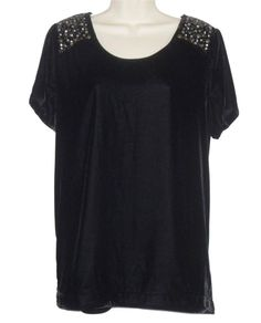 Per Una Ladies Embellished Black Velvet Tunic Top Size 16 NEW Washable