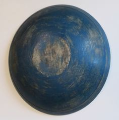 Painted blue wood bowl