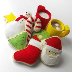 Felt Food Pattern- Christmas Cookies, Hot Cocoa and Milk (Santa, Wreath, Tree…