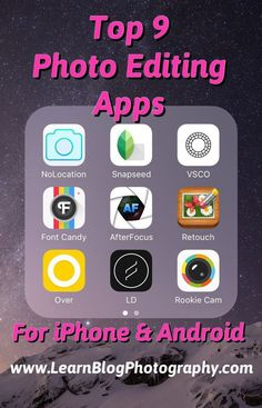 Find out my favorite iPhone and Android editing apps for taking your photos to the next level! www.LearnBlogPhotography.com (scheduled via http://www.tailwindapp.com?utm_source=pinterest&utm_medium=twpin&utm_content=post91157831&utm_campaign=scheduler_at