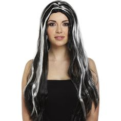 65cm Black & White Witch Wig Halloween Accessory £5.99