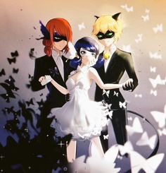 Miraculous Ladybug- Nathaniel, Ladybug, and Chat