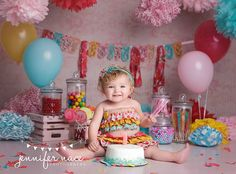 candy shop one year cake smash by Jennifer Nace
