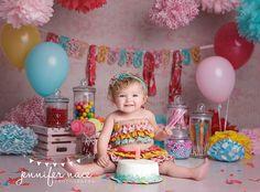 candy shop one year cake smash by Jennifer Nace