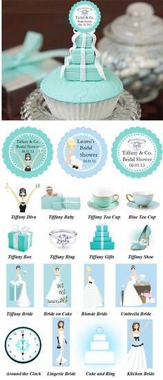 Something Blue Tiffany Audrey Hepburn Cupcake Toppers