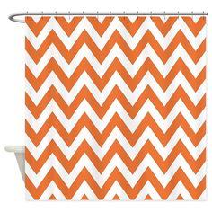 Orange Chevron Shower Curtain on CafePress.com