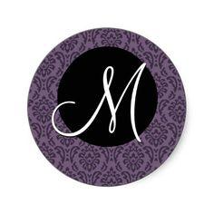 #Purple #Black #Monogram M #Damask #Wedding #Sticker